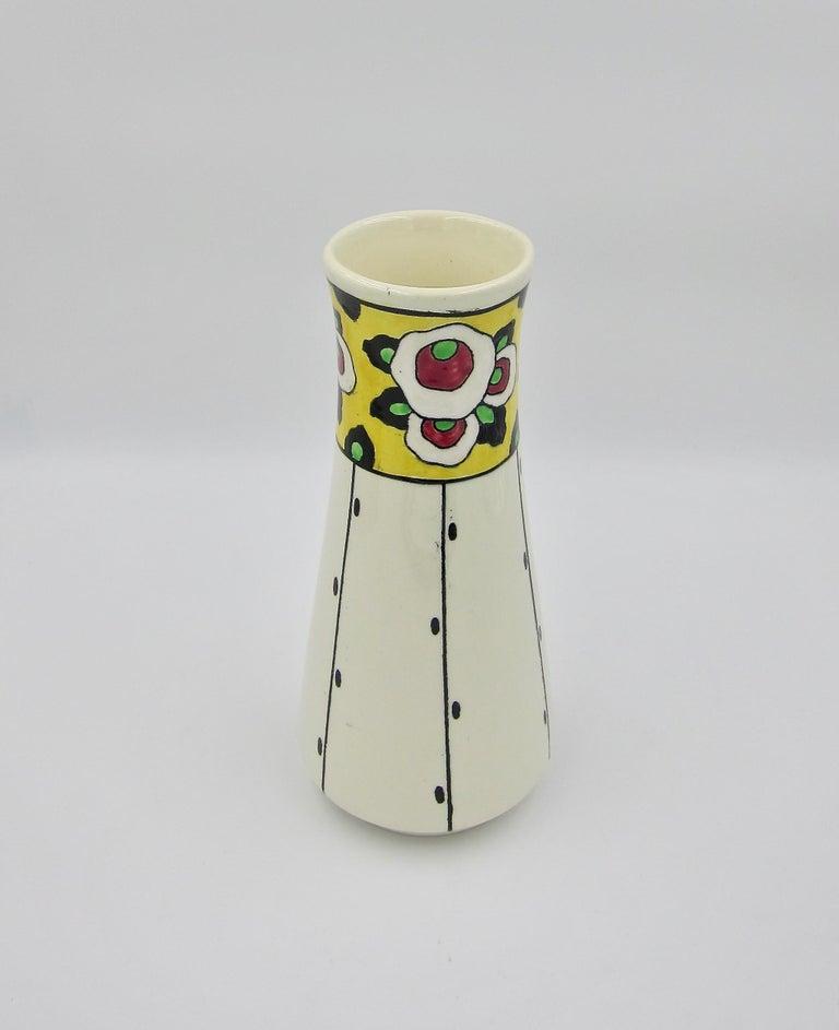 Ceramic Boch Freres La Louvière Hand Painted Art Deco Vase For Sale