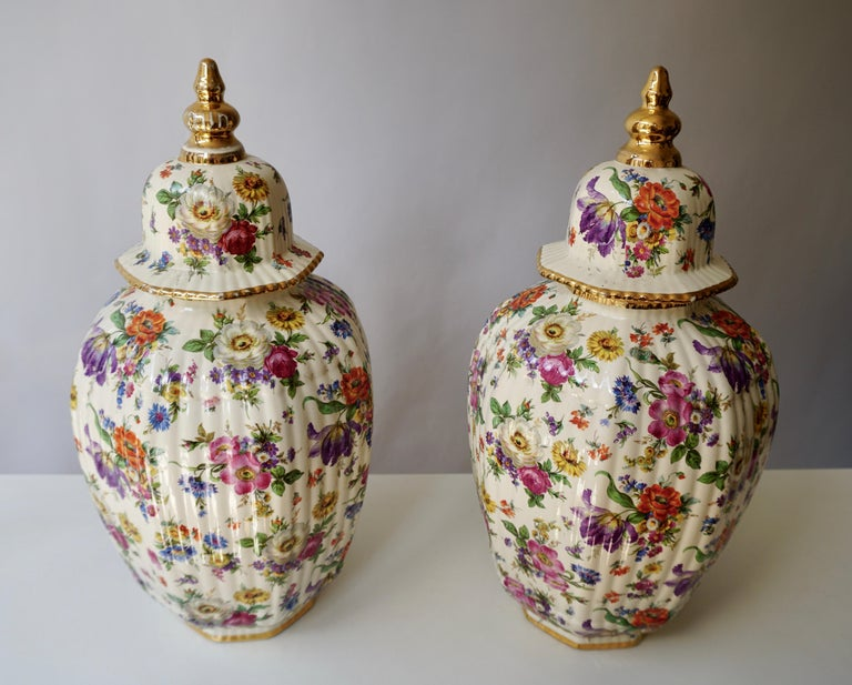 Hollywood Regency Boch Frères Vase with Stylized Floral Motifs For Sale
