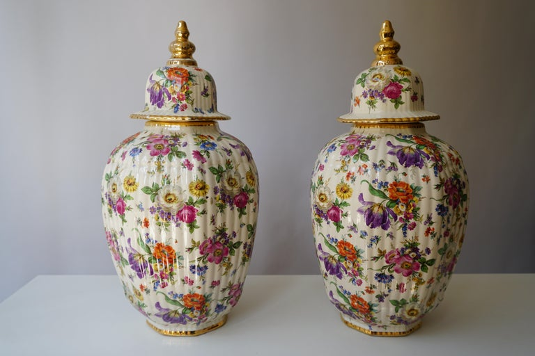Painted Boch Frères Vase with Stylized Floral Motifs For Sale