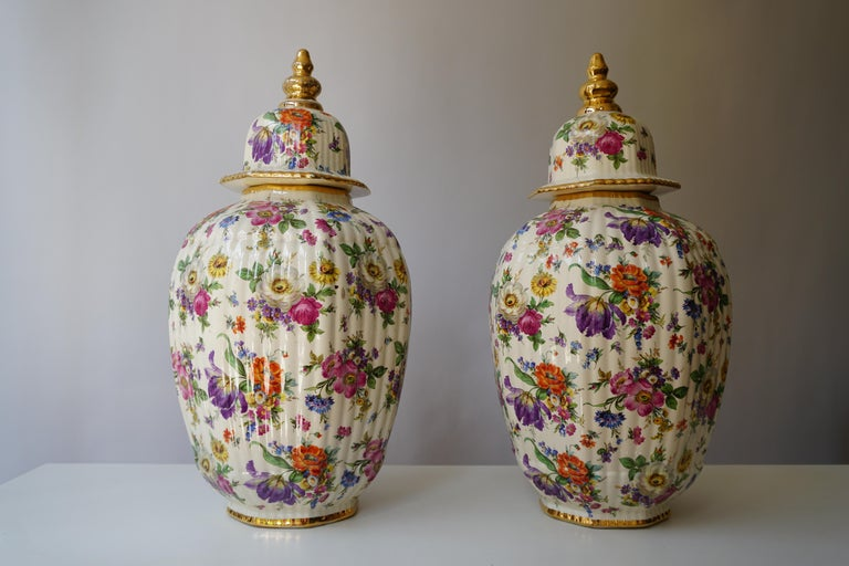 Boch Frères Vase with Stylized Floral Motifs In Good Condition For Sale In Antwerp, BE
