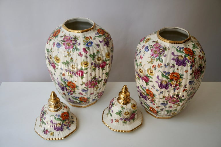 Ceramic Boch Frères Vase with Stylized Floral Motifs For Sale