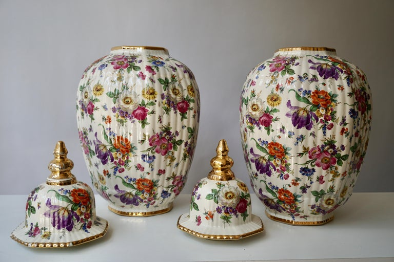 Boch Frères Vase with Stylized Floral Motifs For Sale 1