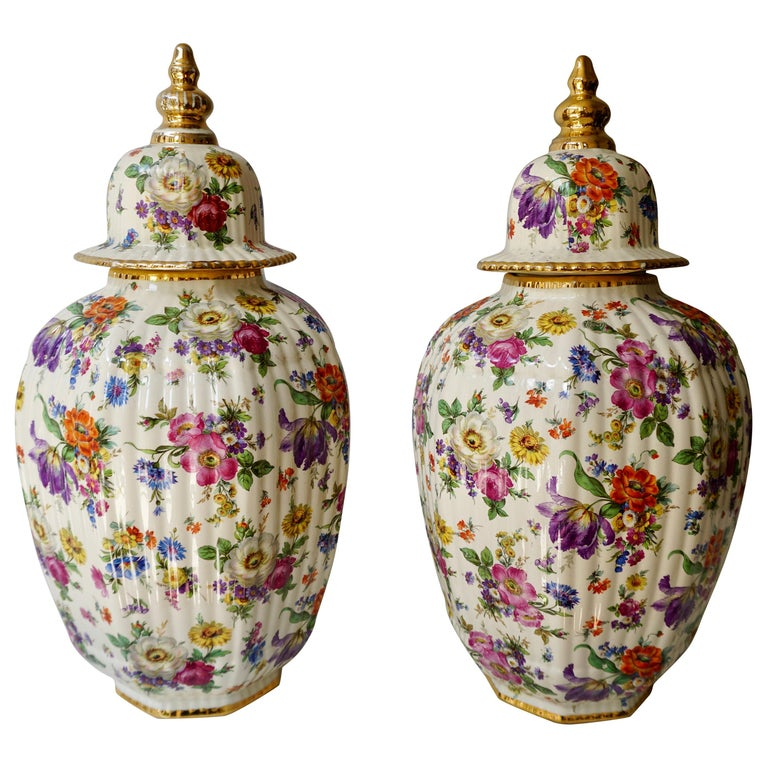 Boch Frères Vase with Stylized Floral Motifs For Sale