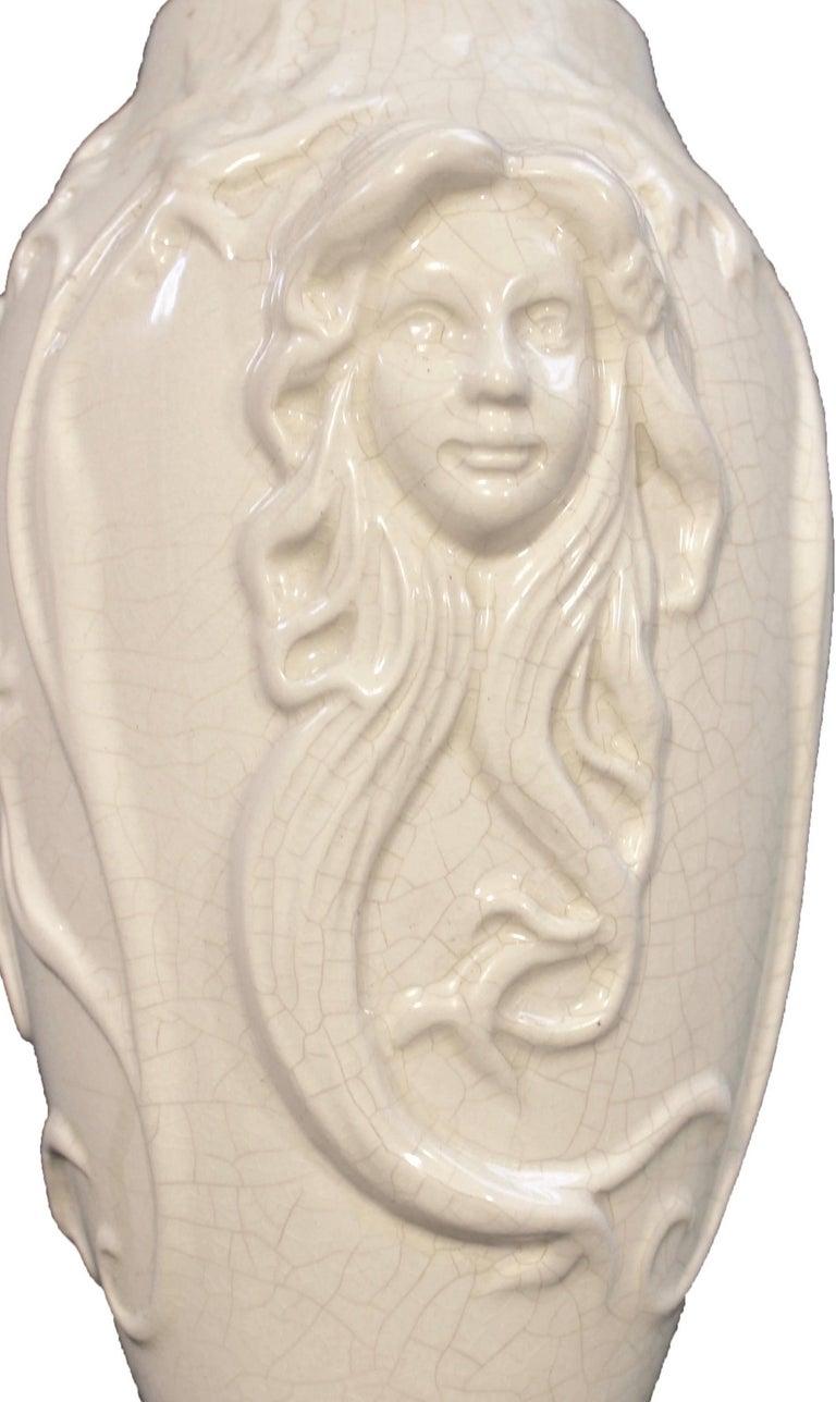 Boch La Louvière: Vase Art Nouveau white glazed earthenware, decor in relief with women image  Dimensions: Height 22 cm, 8.6 inch Width 14 cm, 5.5 inch.  We specialise in Art Nouveau, Art Deco and Vintage lighting: Please check our storefront for
