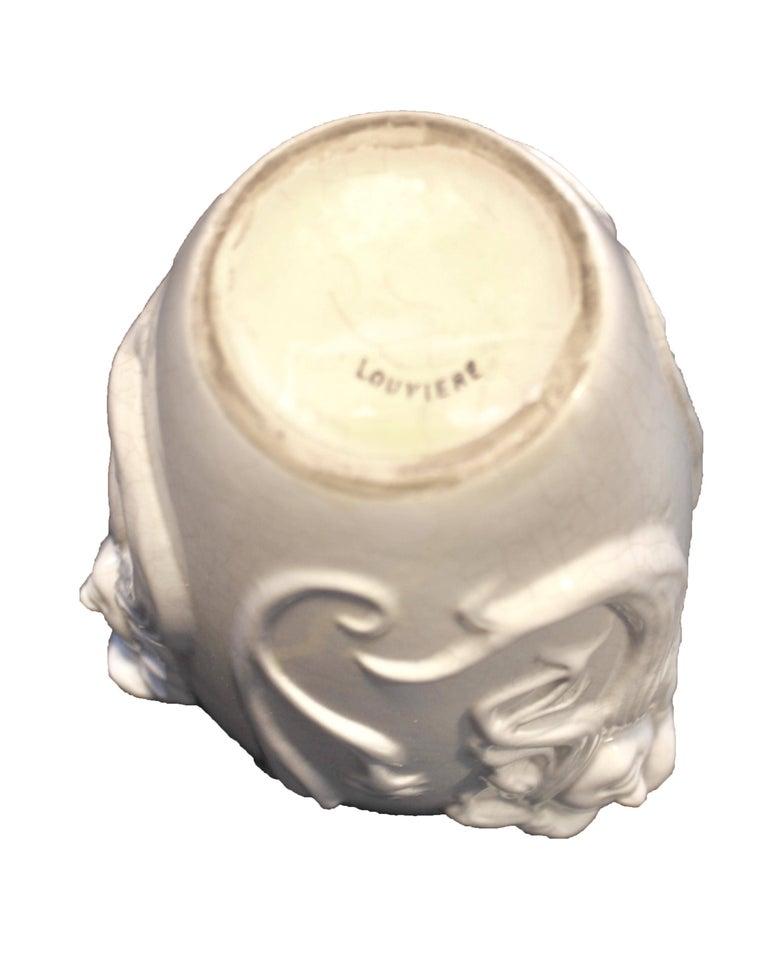 Hand-Crafted Boch La Louvière, Vase Art Nouveau White Glazed Earthenware, Decor in Relief For Sale