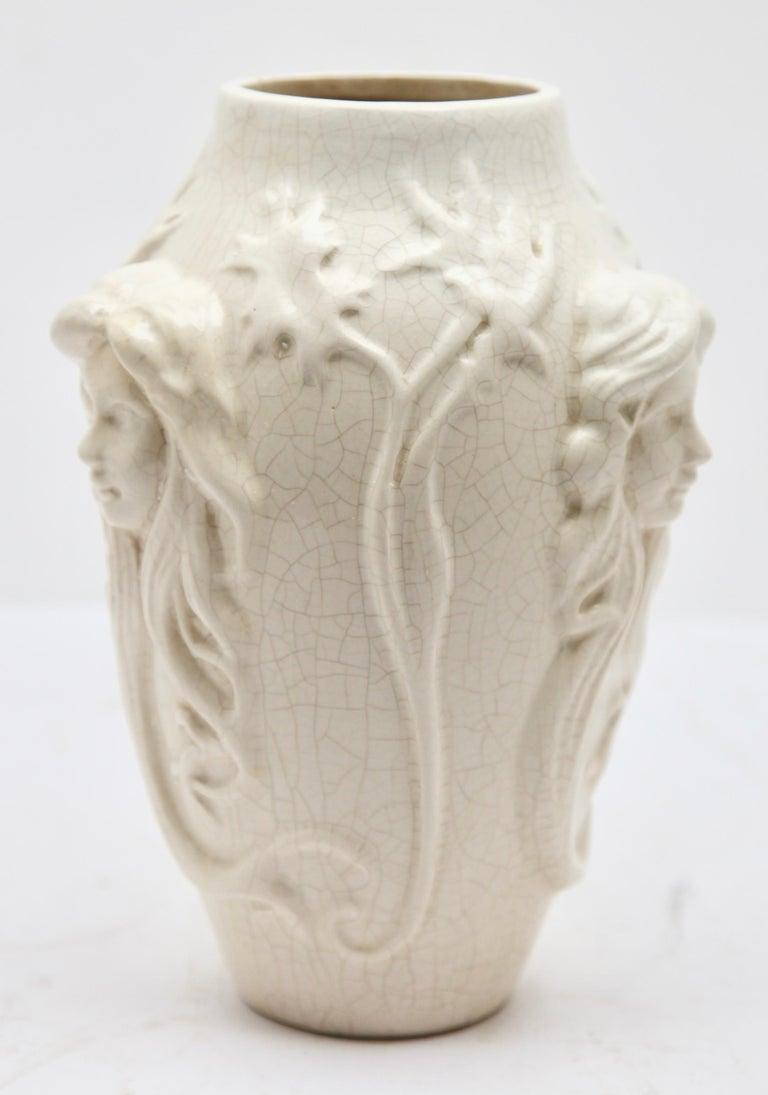 Ceramic Boch La Louvière, Vase Art Nouveau White Glazed Earthenware, Decor in Relief For Sale