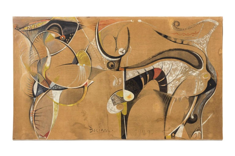 Bocian, signed and dated.  Mixed technique on canvas mounted on chassis. Landscape format, representing an abstract composition in ochre shades, sinuous shapes in white, black and red colors. Canvas lined, meaning attached on an existing canvas.