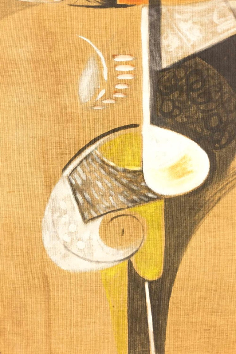 French Bocian, Abstract Composition, Mixed Technique on Canvas, 1949 For Sale