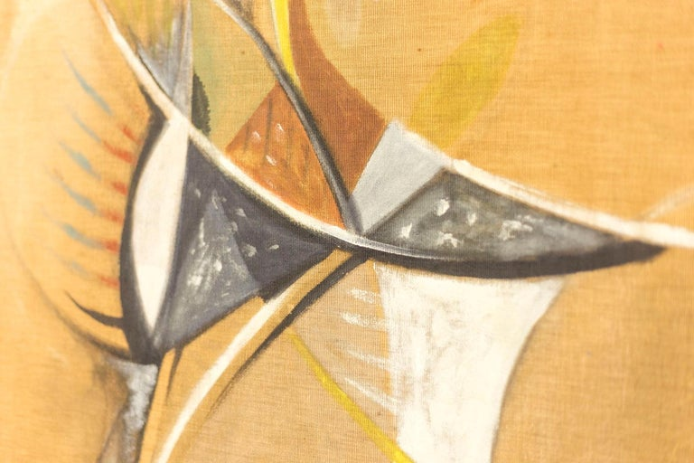Mid-20th Century Bocian, Abstract Composition, Mixed Technique on Canvas, 1949 For Sale