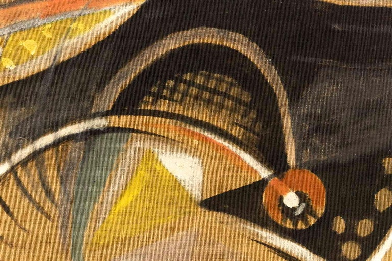 Bocian, Abstract Composition, Mixed Technique on Canvas, 1949 For Sale 1
