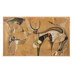 Bocian, Abstract Composition, Mixed Technique on Canvas, 1949