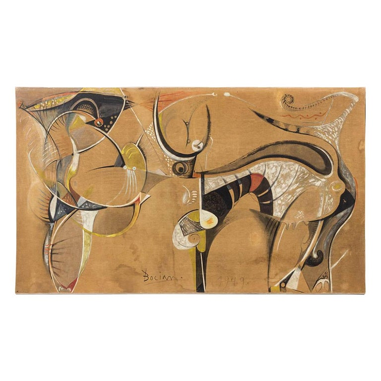 Bocian, Abstract Composition, Mixed Technique on Canvas, 1949 For Sale