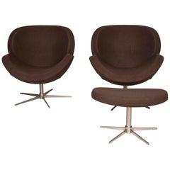 BoConcept Designer Fabric Armchair Set Brown 2x Armchair 1x Stool