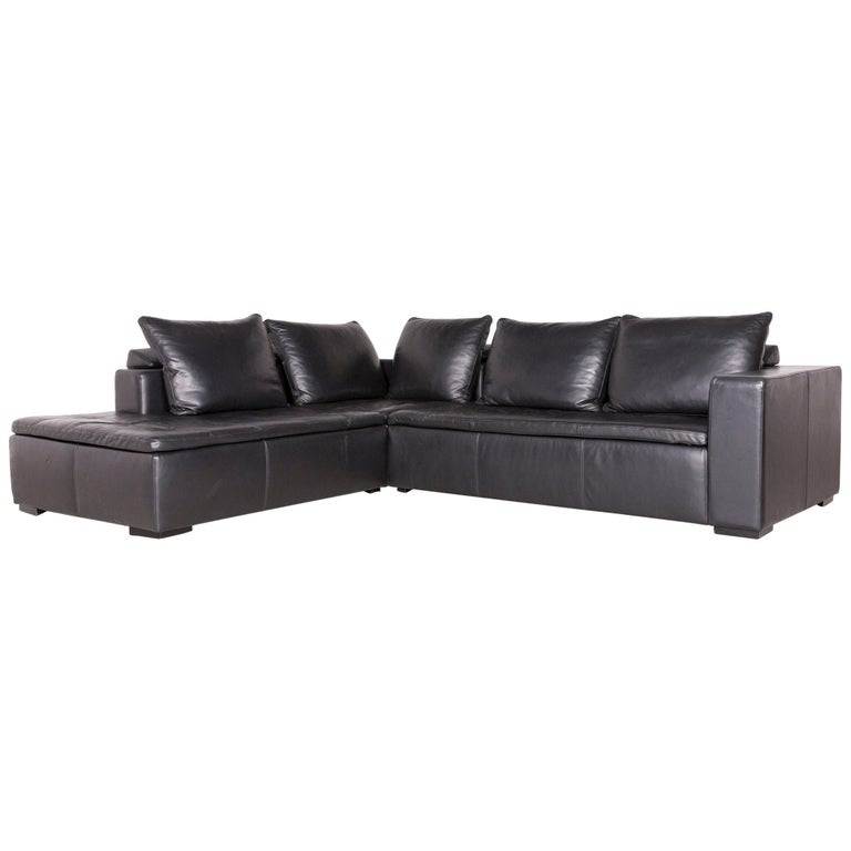 Boconcept Designer Leather Corner Sofa Black Genuine Leather ...