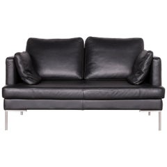Boconcept Designer Leather Sofa Black Two-Seat Couch