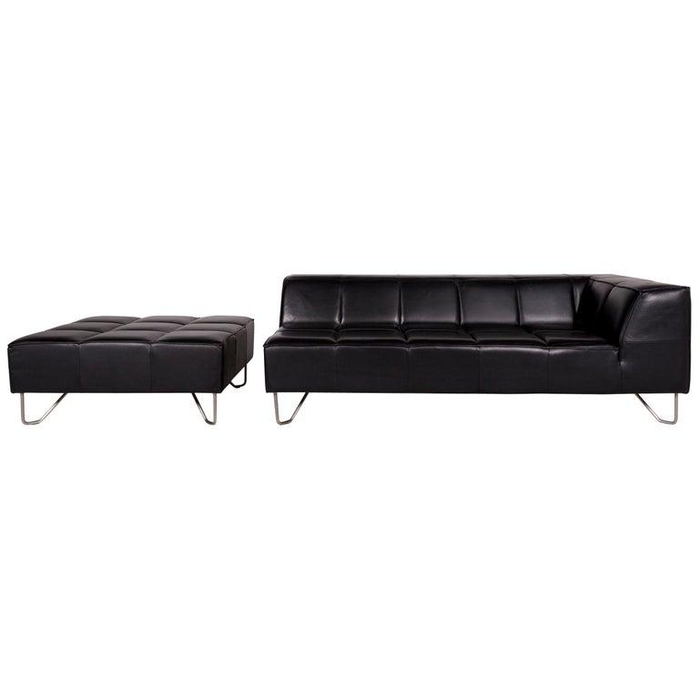 BoConcept Milos Leather Sofa Set Black Three-Seat Stool