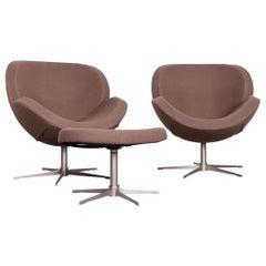 BoConcept Shelly Designer Fabric Armchair Footstool Set Brown