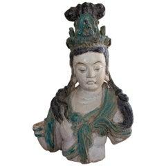 Bodhisattva Bust in Glazed Terracotta, China, circa 1900