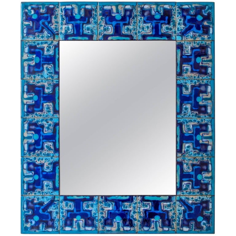 Bodil Eje, Unique Blue, Turquoise and Indigo Enameled Copper Wall Mirror For Sale