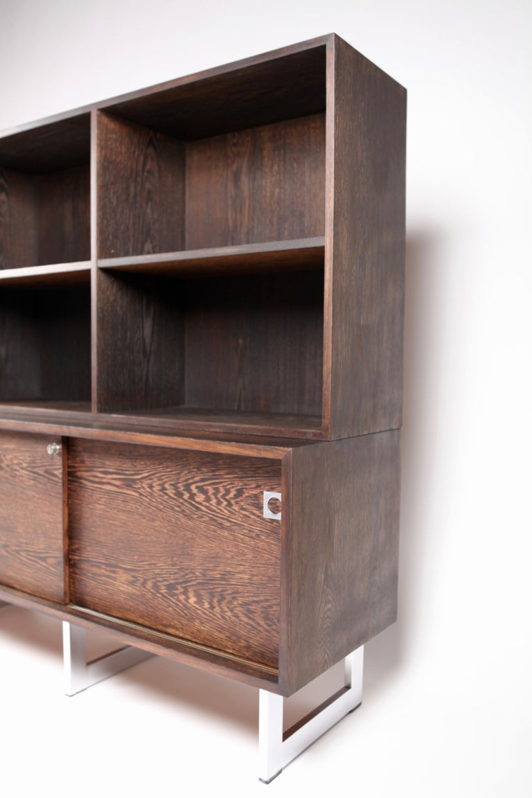 Stained Bodil Kjær, Freestanding Sideboard with Bookshelf in Wenge, 1960s For Sale