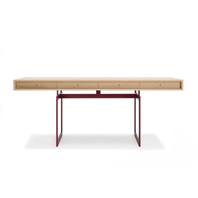 Mid-Century Modern Bodil Kjær Office Desk Table, Wood and Steel by Karakter For Sale