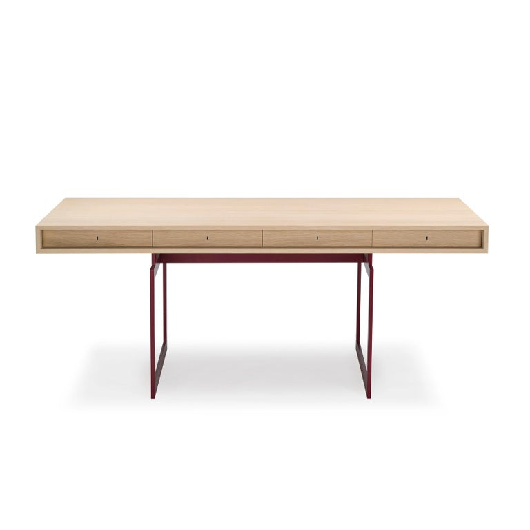 Danish Bodil Kjær Office Desk Table, Wood and Steel by Karakter For Sale