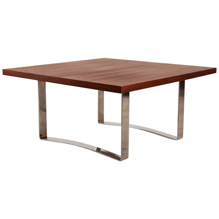 Bodil Kjaer Rare Low Square Coffee Table, circa 1959 For Sale