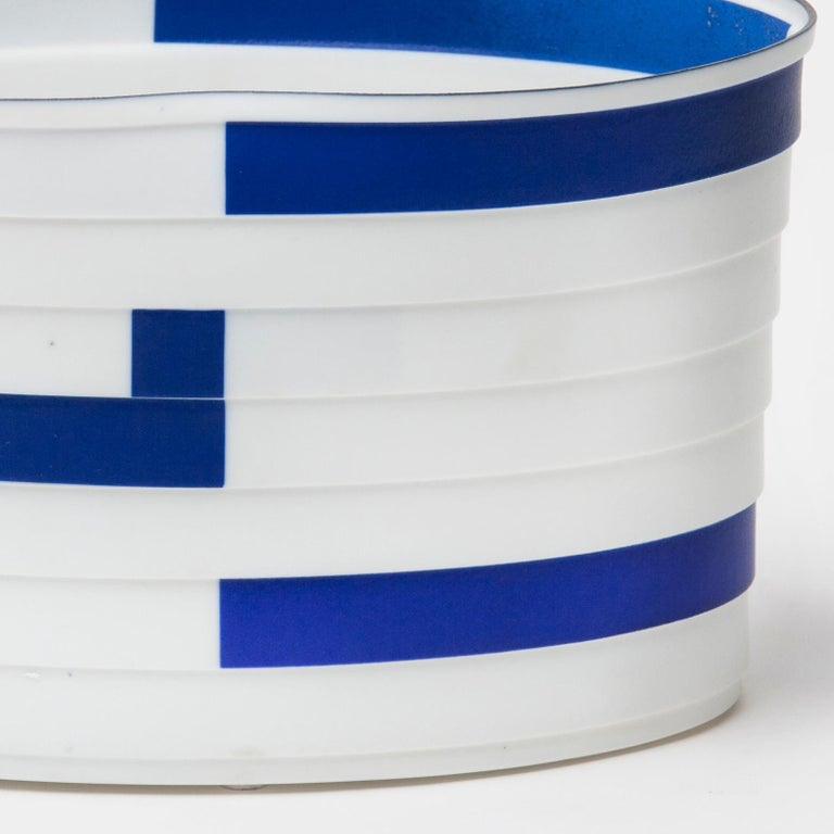 Bodil Manz, porcelain vessel in white, blue, and black, made in Denmark 4