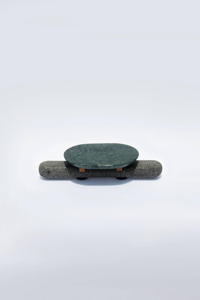 Sculptural Plate Volcanic Stone Green Marble (Large) In Excellent Condition For Sale In Mexico City, MX
