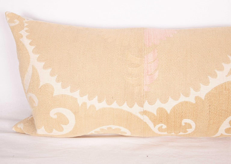 Cotton Body Pillow / Lumbar Made from a Vintage Samarkand Suzani, Mid-20th Century For Sale