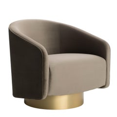 Boémia Swivel Armchair with Antique Brass Base