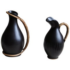 Bofa Keramik, Miniature Pitchers, Glazed Ceramic Cane, Bornholm, Denmark, 1960