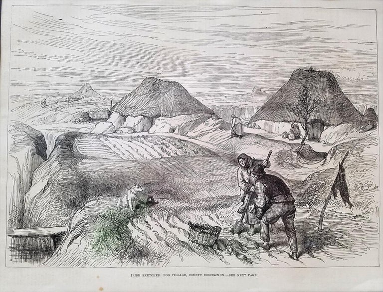 This large framed and matted original print depicts Irish Sketches Bog Village Co Roscommon. It is a 'photographic' record of lost times. This is an original copy of the print or illustration and is from the London Illustrated News of 1880. This