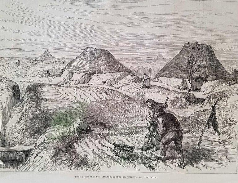 Irish Bog Village Co Roscommon Illustration For Sale