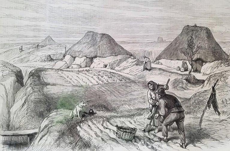 Engraved Bog Village Co Roscommon Illustration For Sale