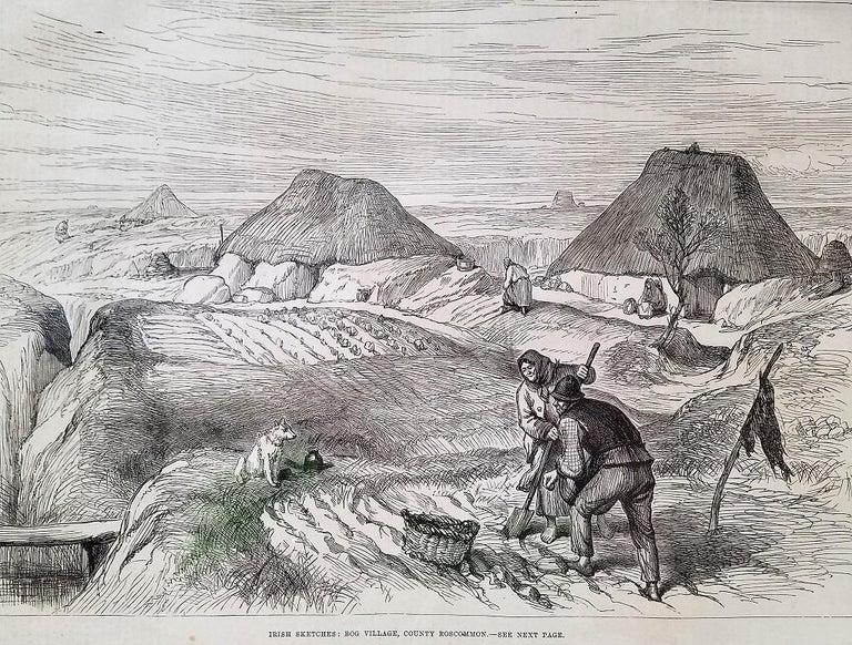 19th Century Bog Village Co Roscommon Illustration For Sale