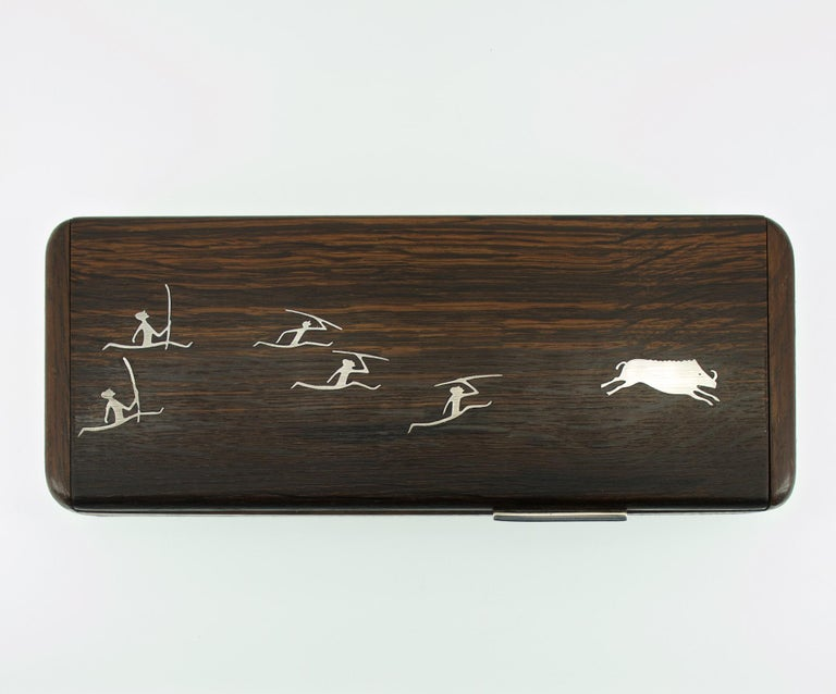 Paleolithic hunting scene on wooden segmented jewelry/cigarette box. Fully functional, hinges work smoothly.