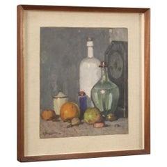 Boggione 20th Century Oil on Panel Italian Signed Still Life Painting, 1950