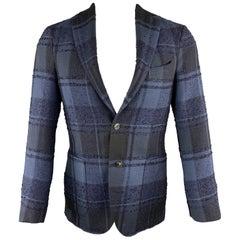 BOGLIOLI Navy Plaid Wool Blend Notch Lapel Size 36 Sport Coat