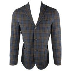 BOGLIOLI Size 36 Blue & Brown Plaid Textured Cotton Blend Notch Lapel Sport Coat