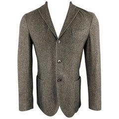 BOGLIOLI Size 36 Gray Grid Wool Notch Lapel Patch Pocket Sport Coat
