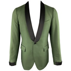 BOGLIOLI Size 40 Green Cashmere / Cotton Black Satin Shawl Collar Sport Coat