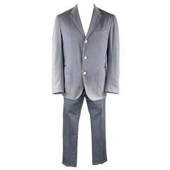 BOGLIOLI Size 44 Blue Cotton Notch Lapel Casual Suit