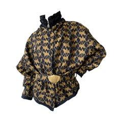 Bogner Vintage Gold Gryphon Pattern Belted Puffer Ski Jacket