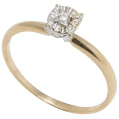 Bogo Diamond 10K Yellow Gold Custom Ring, Solitaire Prong Setting, Round Cut