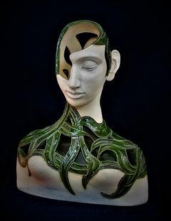 Bogulaw Popowicz, Unique Portrait, Glazed Ceramic Sculpture 44x34x17cm 2016