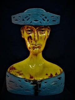 Bogulaw Popowicz, Unique Portrait, Glazed Ceramic Sculpture 47x34x21cm 2016