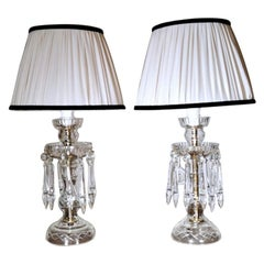 Bohemia Crystal Pair of French Lamps, 1950s