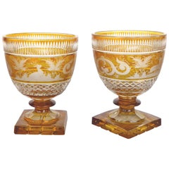 Bohemia Glass Cut Crystal Amber to Clear Goblets