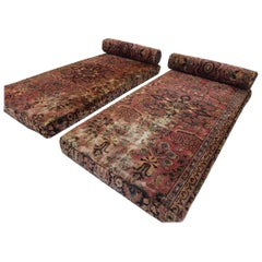 Bohemian Antique Persian Rug Upholstered Floor Day Beds and Bolsters, Pair